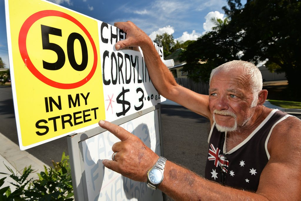SAFETY CONCERNS: Power St resident Garry Kelk fears a major accident because of hooning.