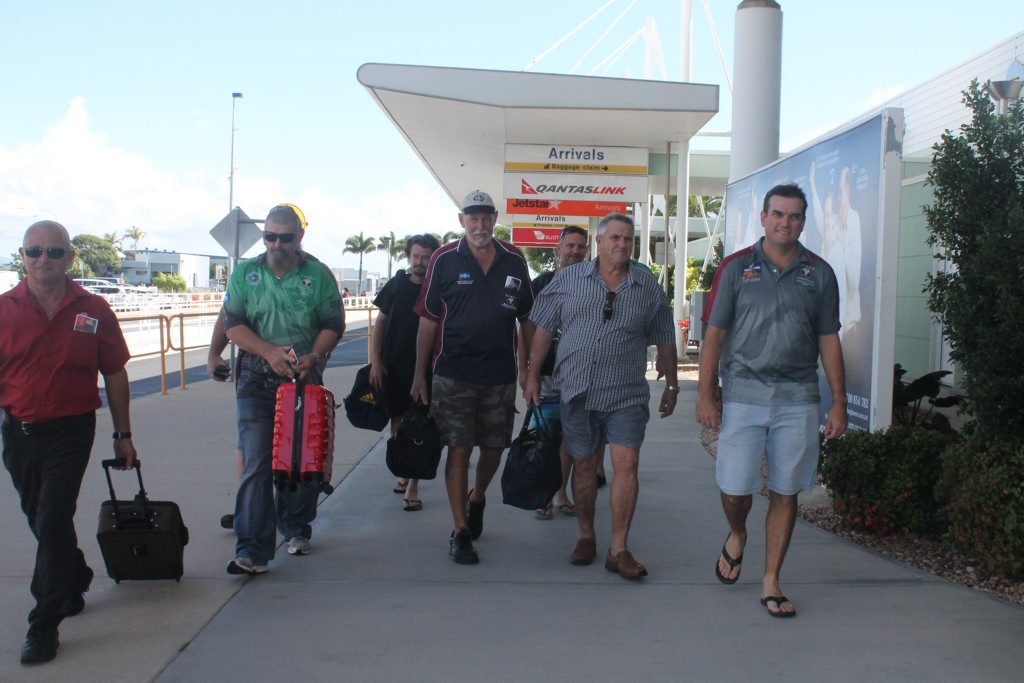 More than 50 past and current miners concerned about black lung disease left Mackay airport this morning to participate in a rally outside Parliament House in Brisbane. Photo Lucy Smith / Daily Mercury