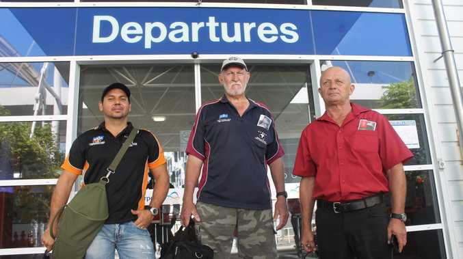 Carborough Downs miner Nathan Leotta, retired miner Col Sealey and North Goonyella miner Barry Elliott leaving Mackay for a rally in Brisbane. Photo Lucy Smith / Daily Mercury