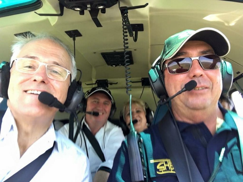 Prime Minister Malcolm Turnbull, Deputy Prime Minister Barnaby Joyce, Capricornia MP Michelle Landry and pilot Matt McCamley flying over the proposed site of Rookwood Weir. Photo contributed.