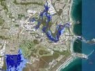 How Coffs Harbour is predicted to look in year 2100 if current global emissions and sea levels rise in line with current global trends.