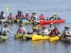 CHALLENGE: Members of the Hell On Wheels kayak adventure on the Clarence River at Lawrence on Saturday.