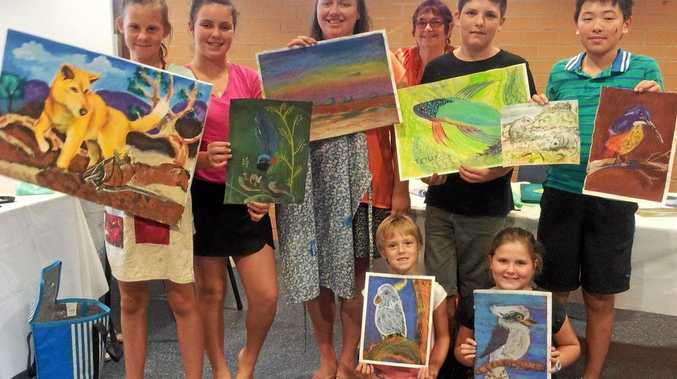 Young artists enjoy the three-day art workshop put on by Rhondella Hyde during the January school holidays.