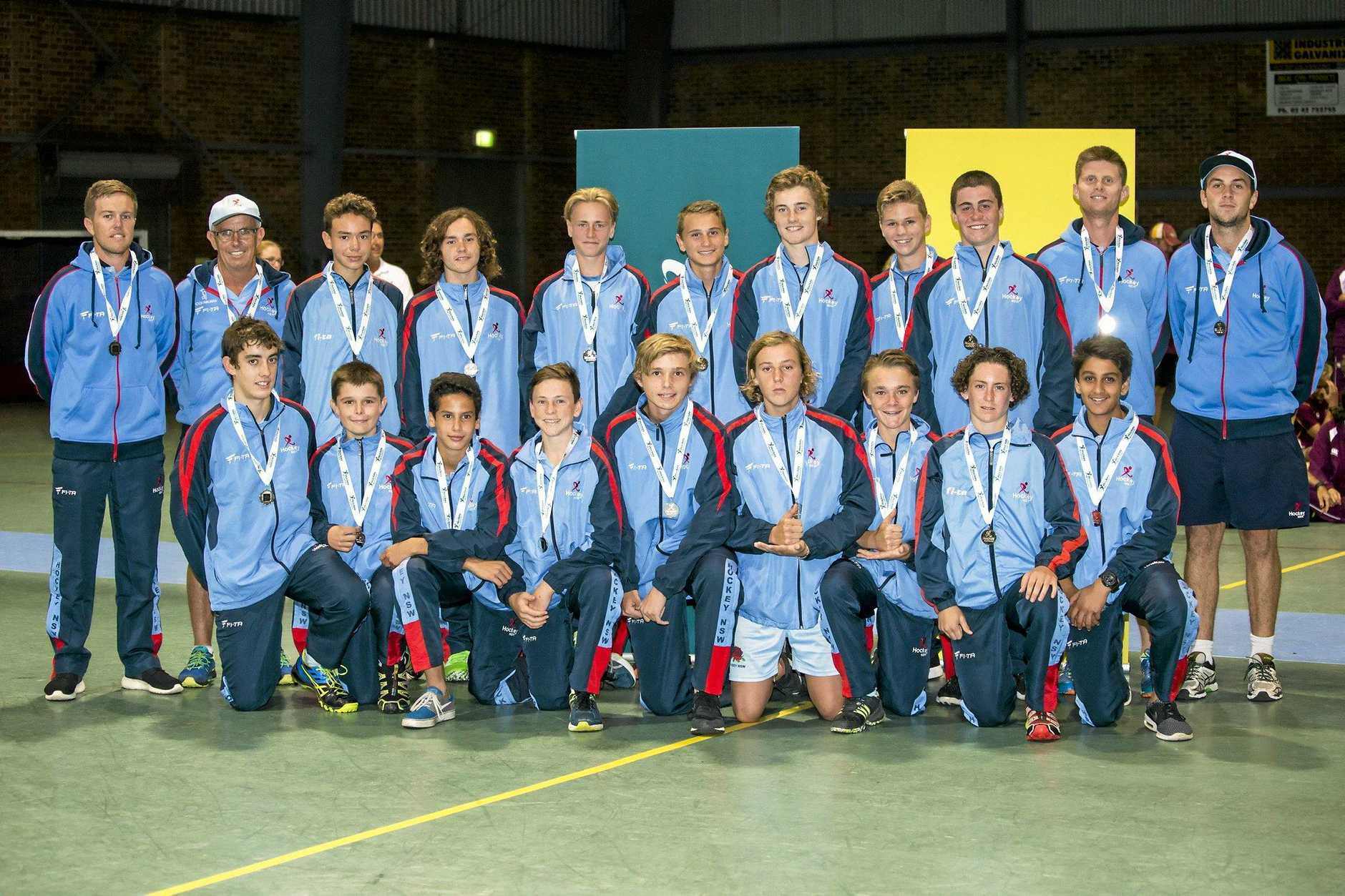 NSW State Under 15s Boys side with Zac Young in the front row second from right.