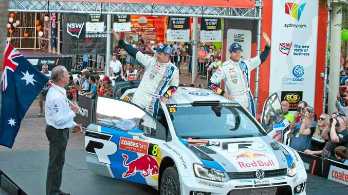 Member for Coffs Harbour Andrew Fraser sends the world champion pairing of Julien Ingrassia and Sebastian Ogier on their way at a Rally Australia ceremonial start held in Coffs Harbour's city centre.