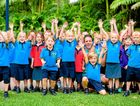 MOUNTAINS OF SUPPORT: Coolum Beach Christian College Prep students cheer Justin Franks on to Everest.