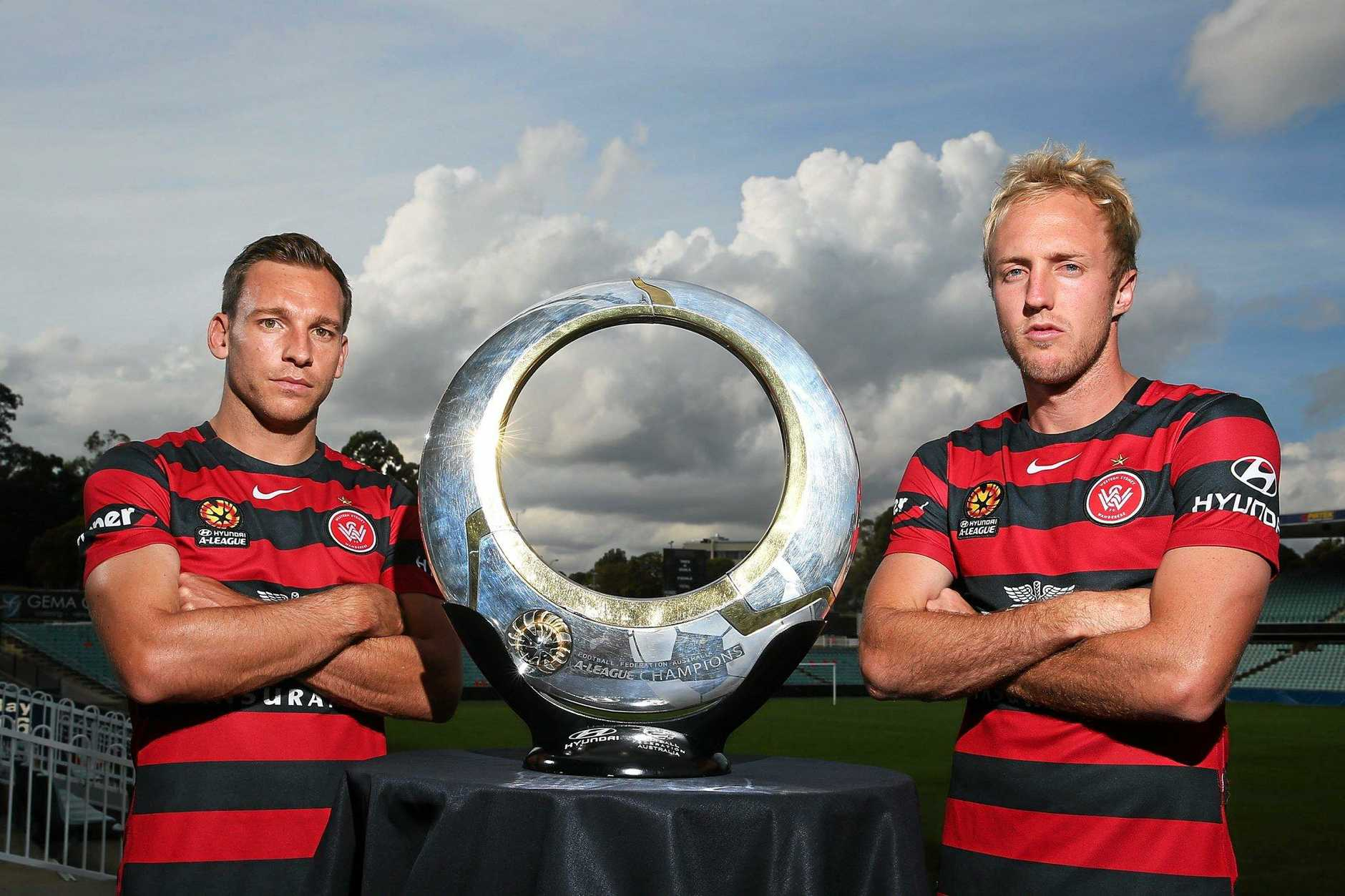 CONFIDENT: Brendon Santalab and Mitch Nichols of the Wanderers pose  in Sydney yesterday.
