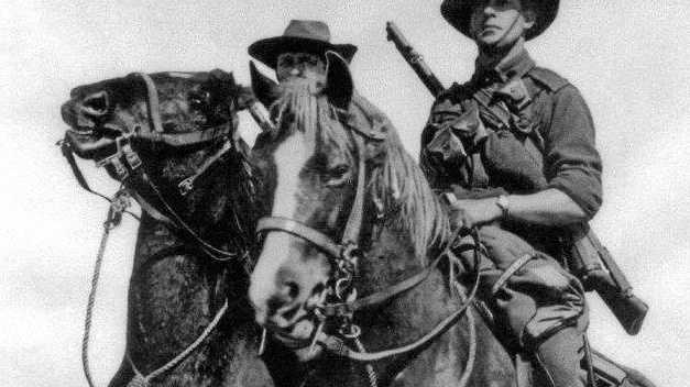 BEST MATES: Members of the light Horse Brigade astride their Walers in the Middle East,