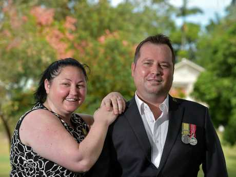 PROUD: Nathan Moore, pictured with his wife Tamie, will be honoured with a Gold Commendation today.