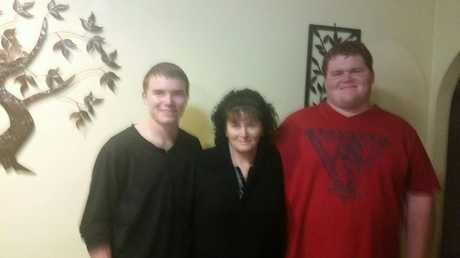 Josh Fing (right) with twin brother Jayden Fing and mother Jenny Fing.