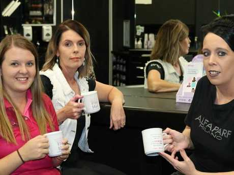 (Left to right) BreastScreen Toowoomba health promotion officer Shenaed Bliss with Tanya Lebsanft and Leisa Toomey of LJ's Hair and Beauty.