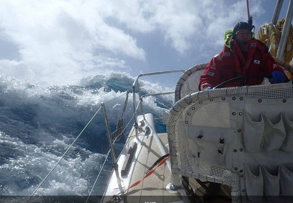 BIG SEAS: A yacht en route to Seattle during leg six of the Clipper Around the World race.