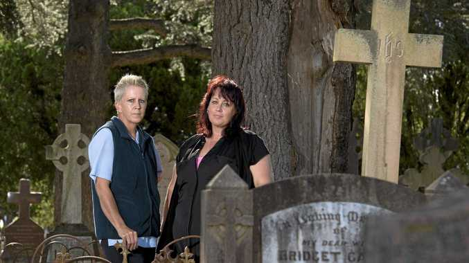 Toowomba mums Kylie Samuels (left) and Katie Harvey of Toowoomba Ghost Chasers like to investigate the paranormal.
