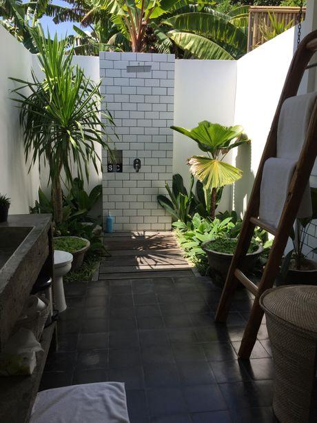 BATHROOM BLISS: The stunning outdoor bathroom at Fella Villa in Canggu.