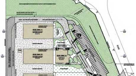The proposed transport and warehouse depot at the Wellcamp Business Park.