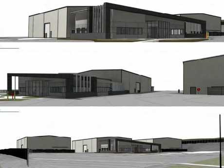 An artist impression of the warehouse and transport depot at Wellcamp Business Park.