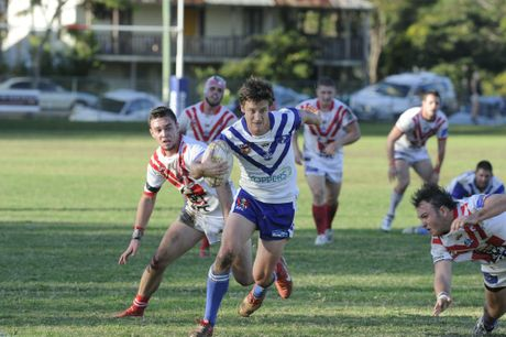 The South Grafton Rebels and Grafton Ghosts went head to head at McKittrick Park on Sunday. Ghosts player Mitch Lollback scored a hat trick of tries and is on his way to score try number two when the photo was take. Photo Debrah Novak / The Daily Examiner