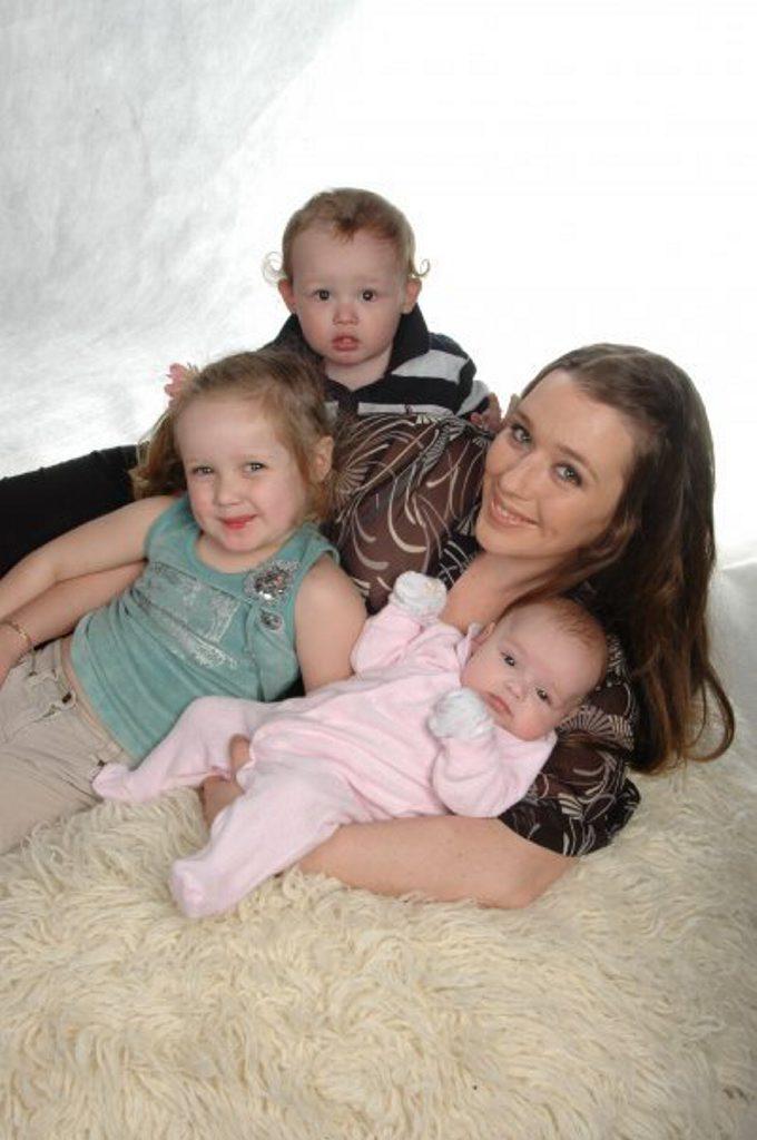 Anna Ward with three of her five children.