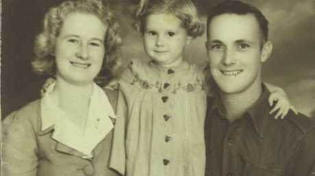 PRECIOUS MEMORIES: Yvonne Lewis with her parents Irene and Kevin Winter prior to her father leaving to fight for his country in Papua New Guinea and some of the surrounding islands of the Pacific.