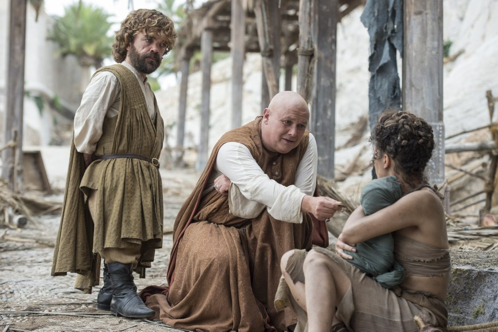 Peter Dinklage and Conleth Hill in a scene from season six of the TV series Game of Thrones.