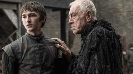Isaac Hempstead Wright and Max von Sydow in a scene from season six of Game of Thrones.
