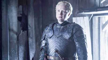 Gwendoline Christie in a scene from season six of Game of Thrones.