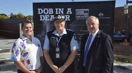 Launching the Dob in a Dealer program in Toowoomba this morning is (from left) Crime Stoppers Queensland general manager Jonathon Cowley, Toowoomba City Patrol Inspector Sharee Cumming and Mayor Paul Antonio.