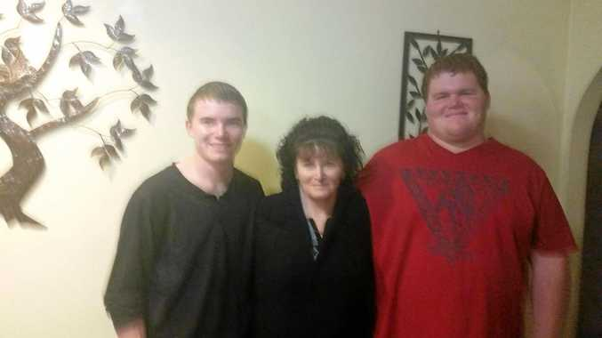 Josh Park-Fing (right) with twin brother Jayden and mother Jenny Fing.