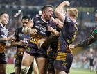 Corey Parker, of the Broncos, celebrates after scoring a try at Suncorp Stadium. Photo: AAP Image/Glenn Hunt.