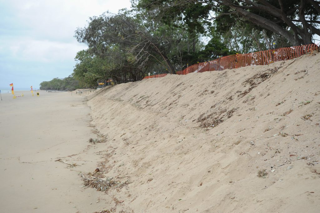 Torquay Beach - sand pushed up on the beach front at Torquay Caravan park. Photo: Alistair Brightman / Fraser Coast Chronicle