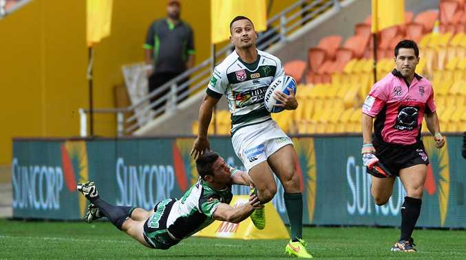 Marmin Barba makes a break in the Intrust Super Cup grand final at Suncorp Stadium on Sunday. Photo: Rob Williams / The Queensland Times