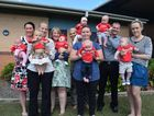 BUMPER BABIES: About seven babies have been born to Hervey Bay Coles staff in the past eight months. Back L: Nicki Hughes with daughter Sasha, 12 weeks, Lace Hore with daughter Daisy, 10 weeks, couple Stacey Pike and Cheran Walker with twins Charli and Harrison, aged five months. Front L: Amanda Barnes with daughter Erica-Jean, aged eight months, Tegan Hervey with daughter Talia aged four months and Cassie Ivey (striped shirt), with son Carter aged four months. Photo Hannah Baker / Fraser Coast Chronicle Photo Hannah Baker / Fraser Coast Chronicle