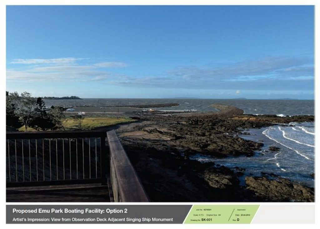 Proposed Emu Park boating facility Option 2: view from observation deck Photo: Department of Transport and Main Roads