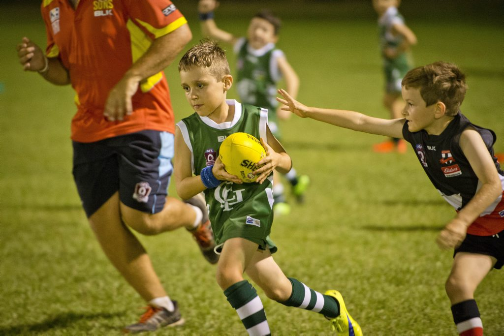 Axel Amos, Junior Football between BITS Saints and the Gladstone Muddies. Photo Paul Braven / The Observer