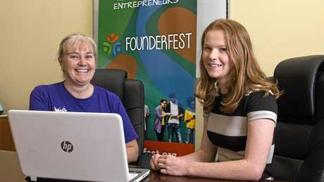 BUSINESS PITCH: Joy Taylor (left) chats with Mikeala Ridley about the inaugural Founderfest.