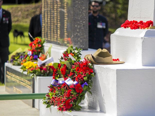 Wreaths at the Burringbar cenotaph during the Anzac Day ceremony last year.