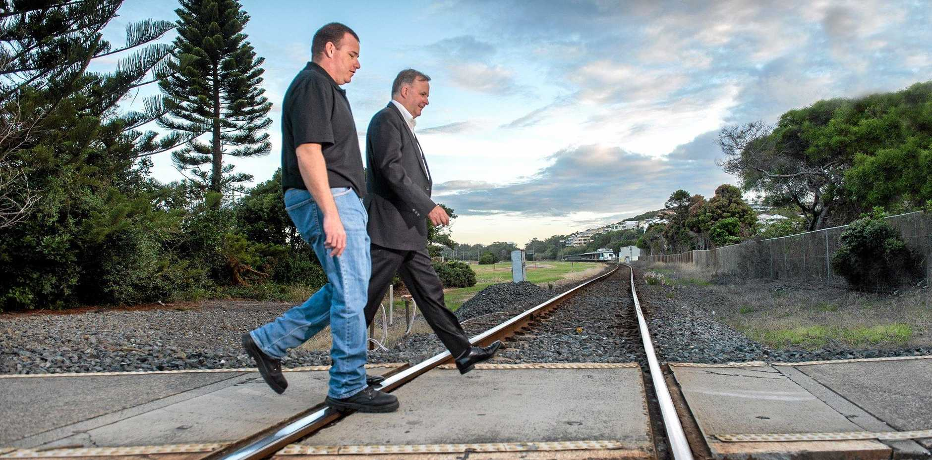 LABOR PLANS: Damian Wood and Anthony Albanese in Coffs Harbour this week.