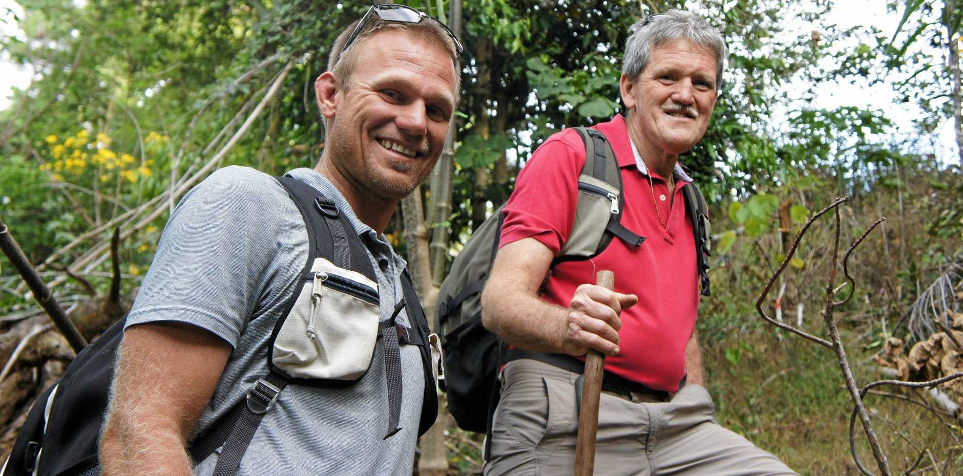 CHALLENGE AHEAD: Gary James and his son, Brad, in training for the Salvation Army Kokoka Trek 2016.