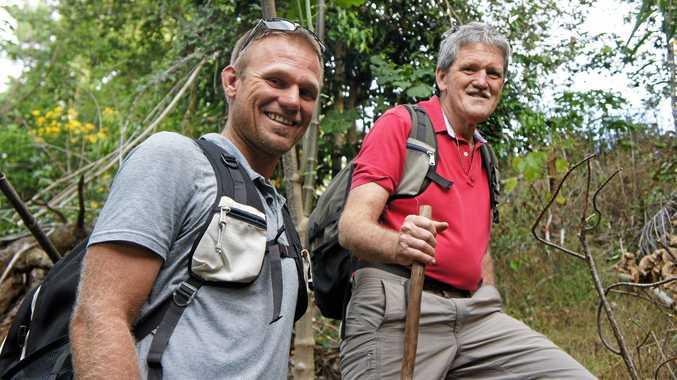 CHALLENGE AHEAD: Gary James and his son, Brad, in training for the Salvation Army Kokoka Trek 2016.