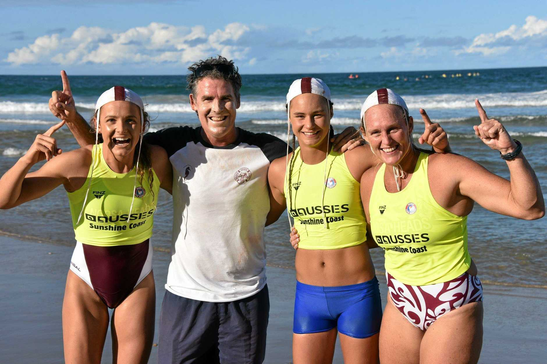 VICTORS: Noosa's ski relay team of Jordan Mercer, coach Darren Mercer, Grace Kaihau and Sharleen Kelly.