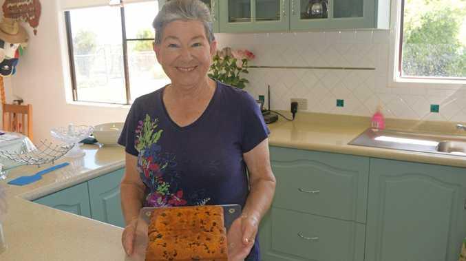PIECE OF CAKE: Dorothy Culbert with her award winning fruit cake.