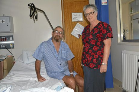 The region's first prostate cancer nurse Jo Hiscock (right) with prostate cancer patient Les Turner at Toowoomba Hospital.