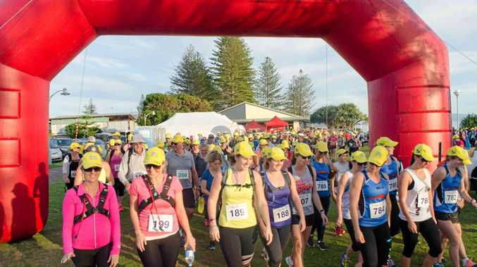 Walkers setting off in last year's Byron Bay to Ballina Coastal Charity Walk.Photo Contributed
