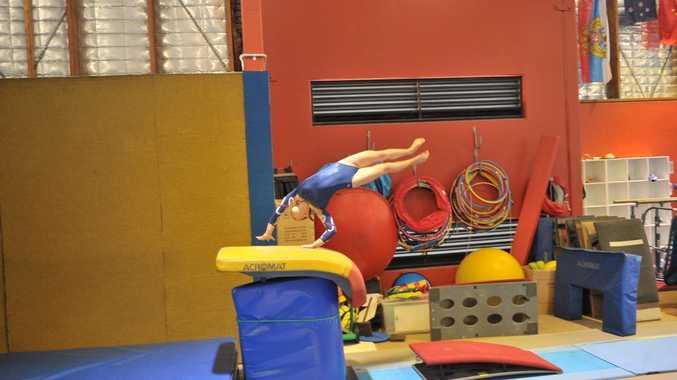 Eryn Parker on the vault during the Central Queensland Regional Gymnastics Titles. Photo Jake Jones / The Observer