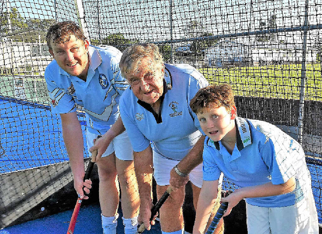 Three generations of playing hockey with Maryborough's Brothers Hockey Club. Life member Brian Berry, his son Michael and grandson Alexander. They are one of many multi-generation families to have played for Brothers Hockey Club over its proud 50-year history.