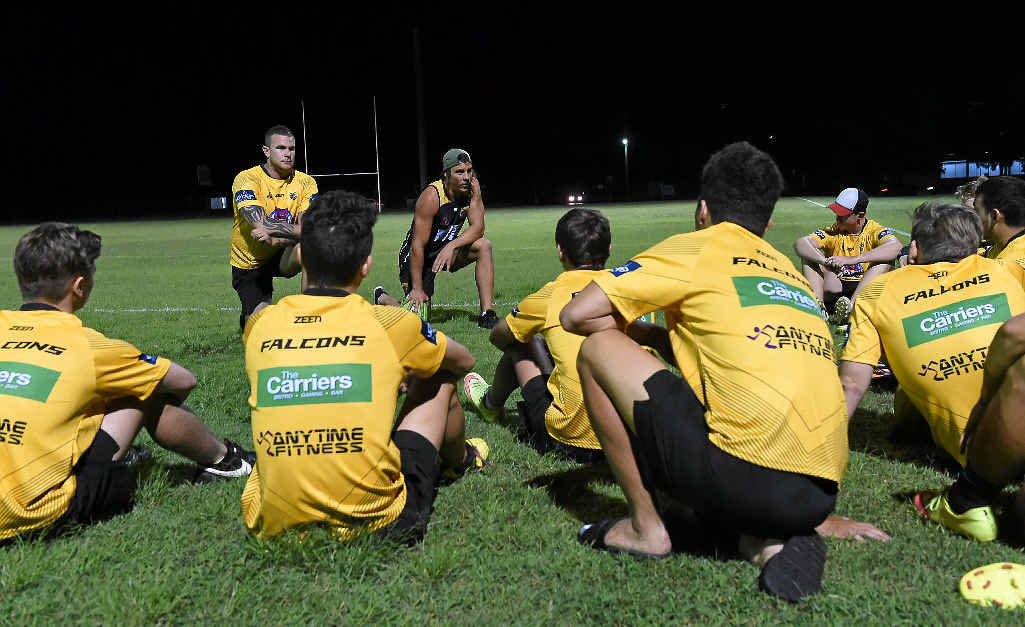 PRE-SESSION TALK: NRL Development officers Tye Ingebrigtsen (left) and Tom Murphy (right) address the Fraser Coast Falcons Development Squad.