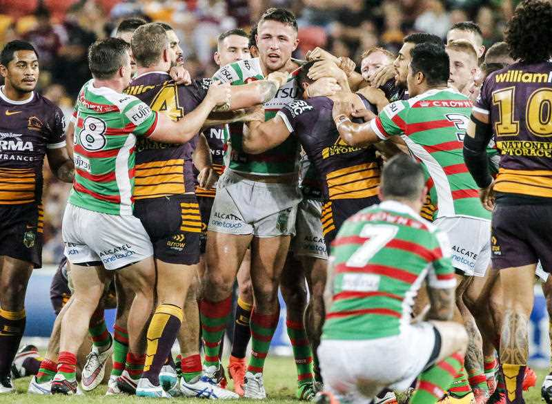 A melee breaks out between the Broncos and Rabbitohs including Sam Burgess of the Rabbitohs during Round 8 of the NRL match between Brisbane Broncos and South Sydney Rabbitohs at Suncorp Stadium,Brisbane, Friday, April 22, 2016.