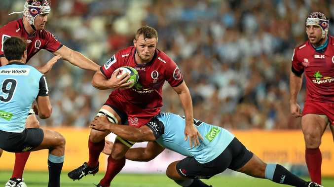 Tatafu Polota-nau of the Waratahs tackles Curtis Browning of the Reds during the round 1 Super Rugby match between the NSW Waratahs and the Queensland Reds at Allianz Stadium in Sydney, Saturday, Feb. 27, 2016.  (AAP Image/Dean Lewins) NO ARCHIVING, EDITORIAL USE ONLY