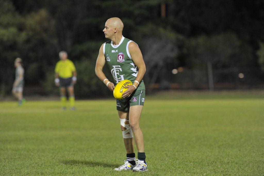 GUN: Tasmanian recruit Mark Jensen was again a dominant player against Rockhampton Panthers.