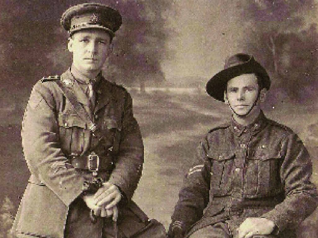 WILLIAM AMIET: (On the left) saw action in late June 1917 in the Bapaume area of France, and was made 2nd lieutenant on August 1, 1918.